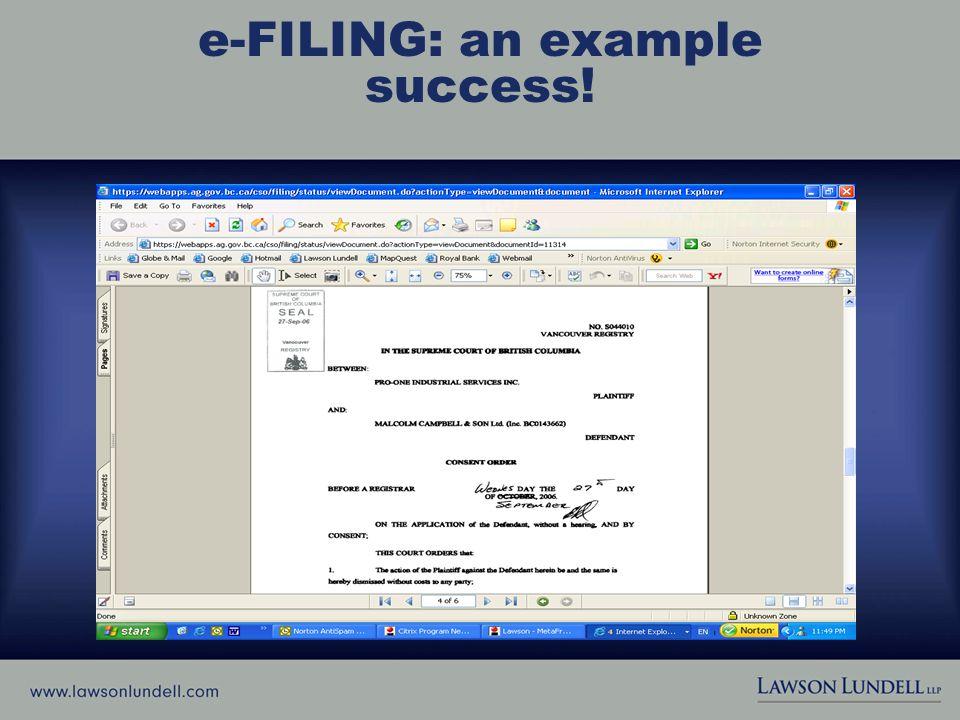 e-FILING: an example success!