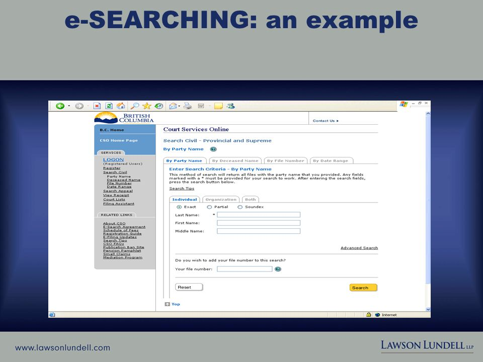 e-SEARCHING: an example (See Handout, p. 1)