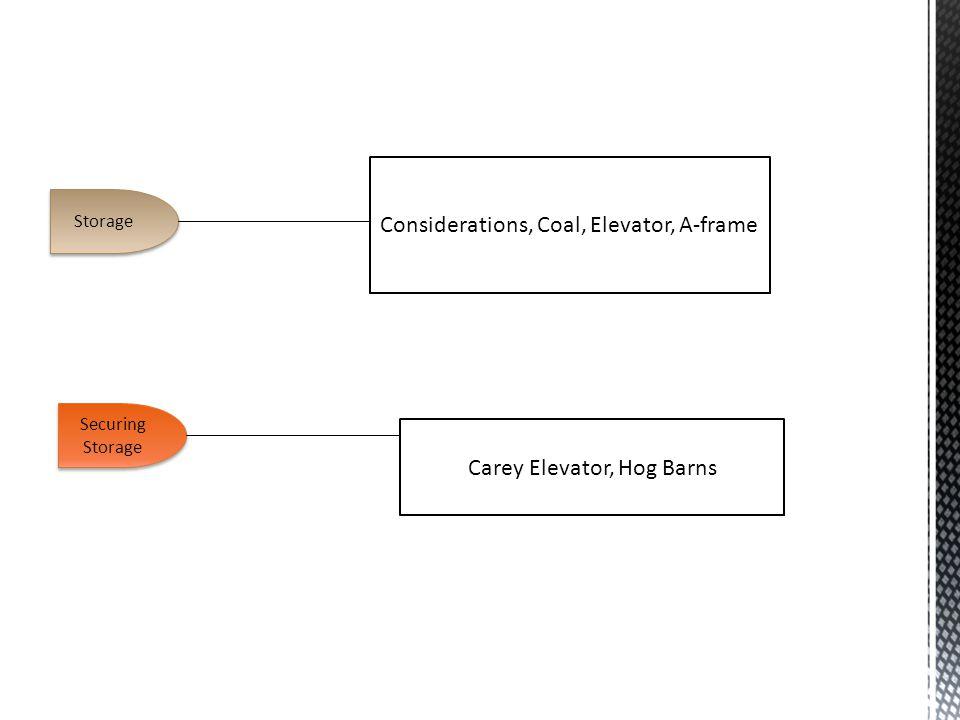 Storage Securing Storage Considerations, Coal, Elevator, A-frame Carey Elevator, Hog Barns