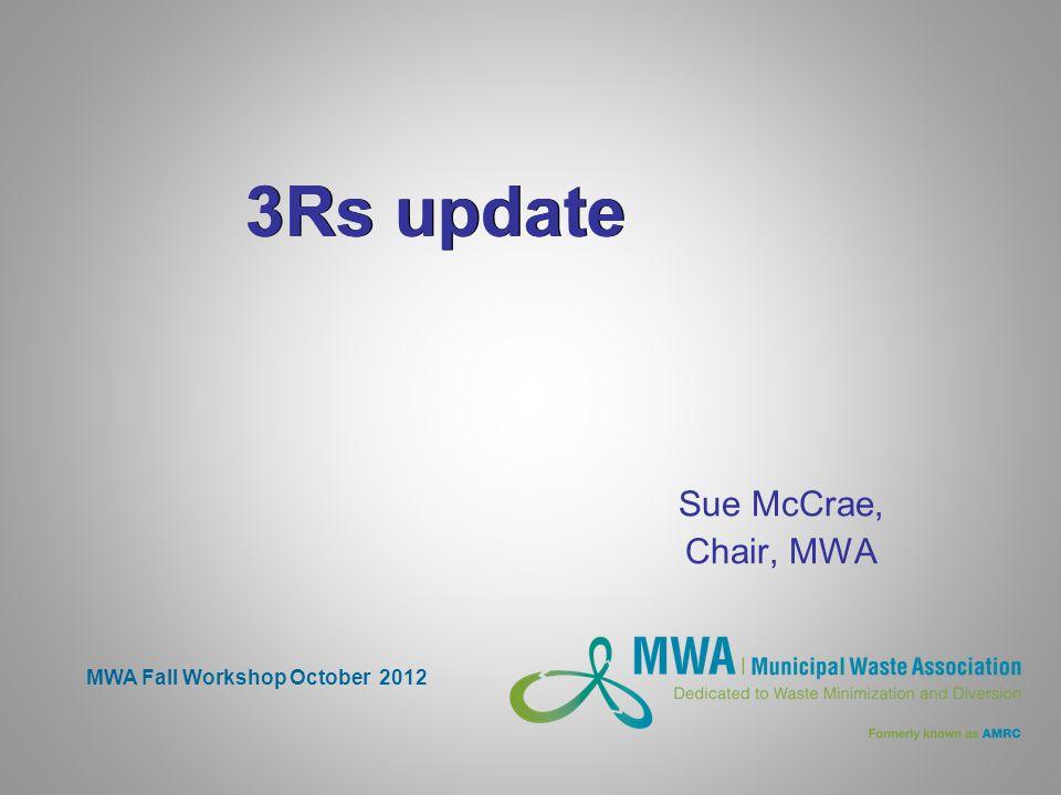 3Rs update Sue McCrae, Chair, MWA MWA Fall Workshop October 2012