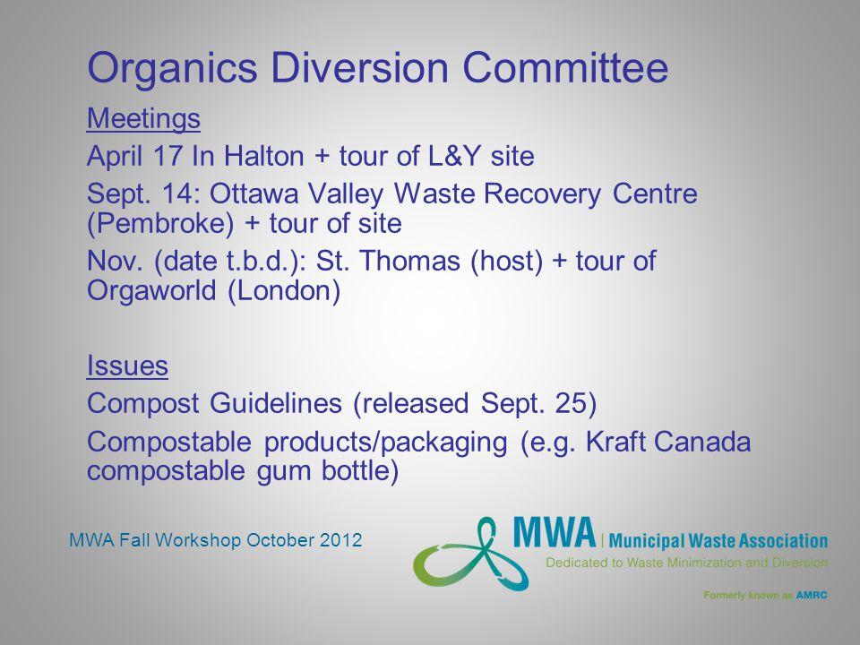 Organics Diversion Committee Meetings April 17 In Halton + tour of L&Y site Sept.