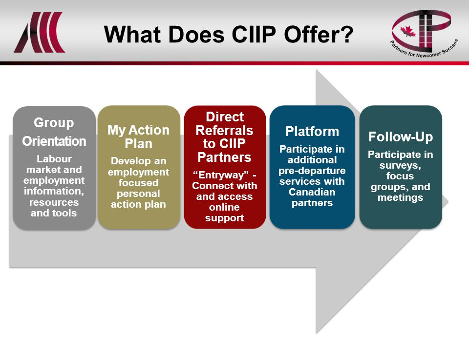 What Does CIIP Offer? Group Orientation Labour market and employment information, resources and tools My Action Plan Develop an employment focused per