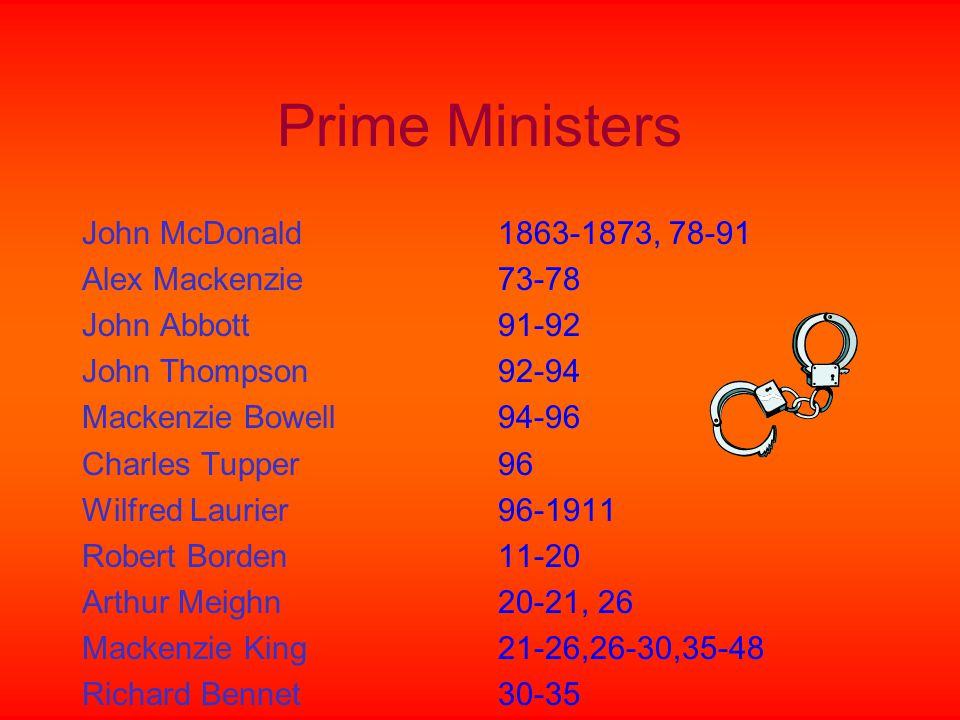 Prime Ministers John McDonald Alex Mackenzie John Abbott John Thompson Mackenzie Bowell Charles Tupper Wilfred Laurier Robert Borden Arthur Meighn Mackenzie King Richard Bennet 1863-1873, 78-91 73-78 91-92 92-94 94-96 96 96-1911 11-20 20-21, 26 21-26,26-30,35-48 30-35
