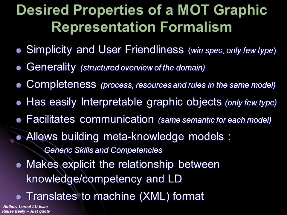 Author: Lornet LD team Reuse freely – Just quote Desired Properties of a MOT Graphic Representation Formalism Simplicity and User Friendliness (win spec, only few type) Generality (structured overview of the domain) Completeness (process, resources and rules in the same model) Has easily Interpretable graphic objects (only few type) Facilitates communication (same semantic for each model) Allows building meta-knowledge models : Generic Skills and Competencies Makes explicit the relationship between knowledge/competency and LD Translates to machine (XML) format