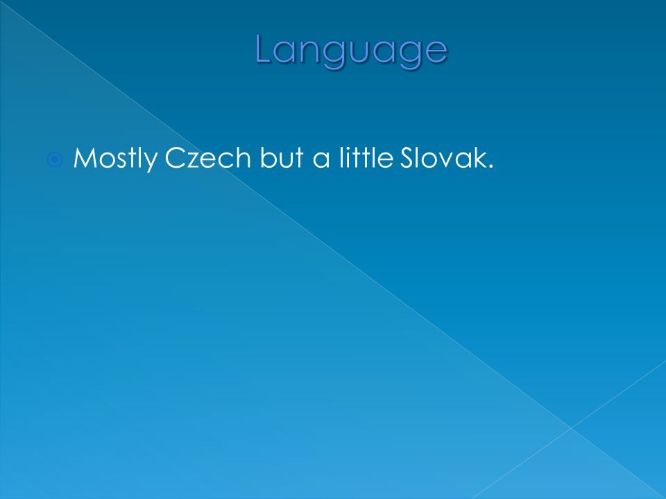  Mostly Czech but a little Slovak.