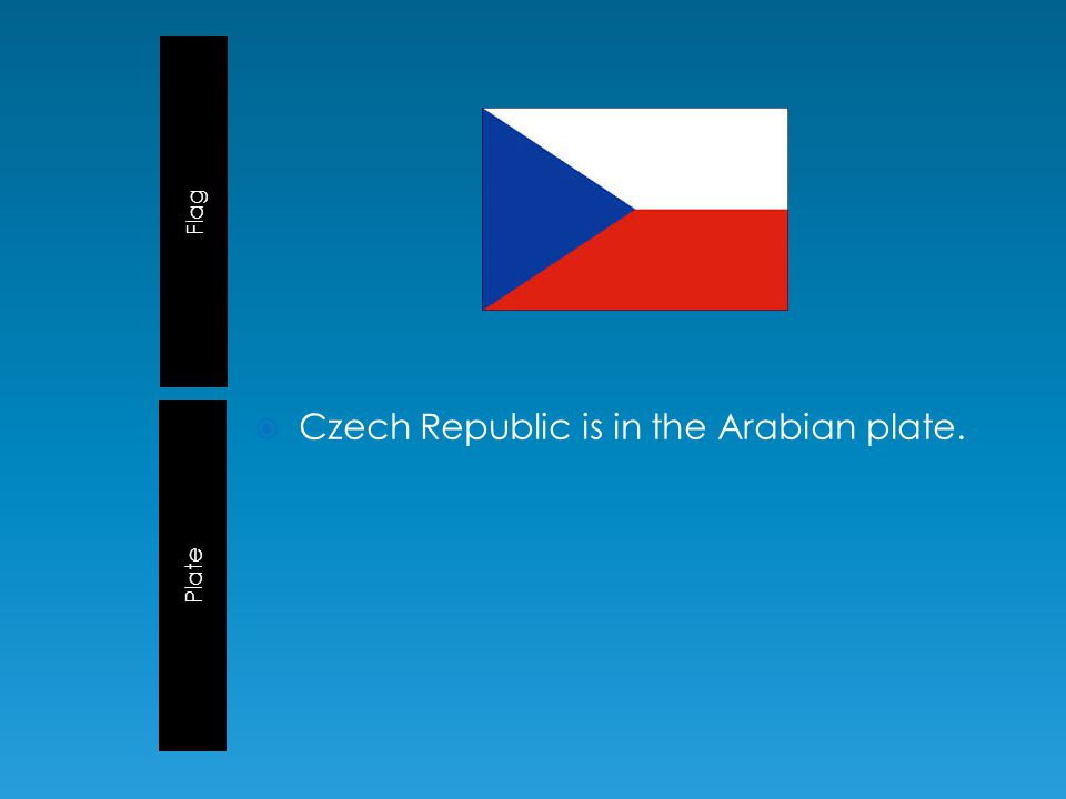 Flag Plate  Czech Republic is in the Arabian plate.