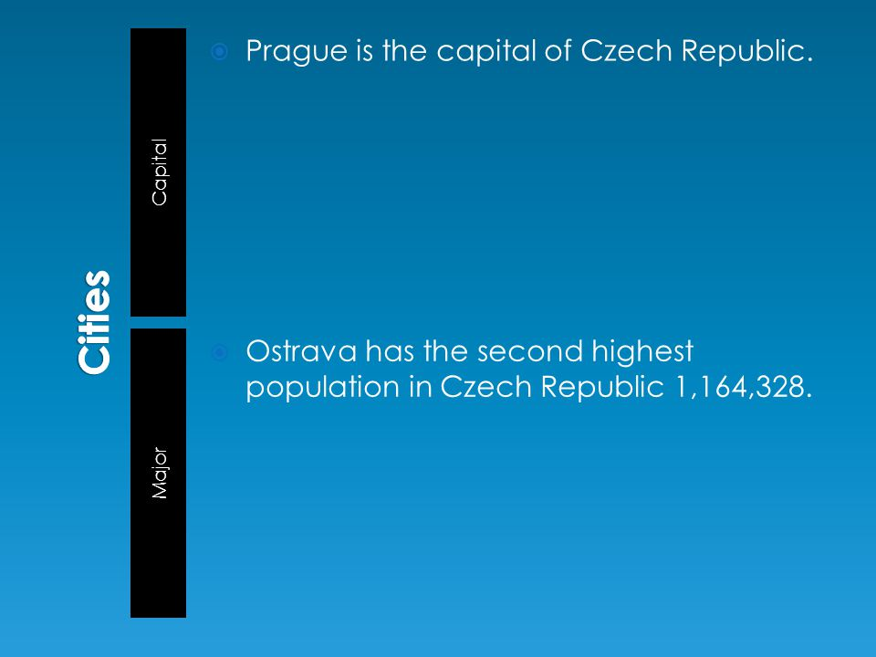 Capital Major  Prague is the capital of Czech Republic.