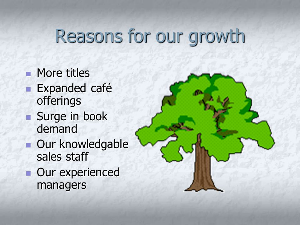 Reasons for our growth More titles More titles Expanded café offerings Expanded café offerings Surge in book demand Surge in book demand Our knowledgable sales staff Our knowledgable sales staff Our experienced managers Our experienced managers