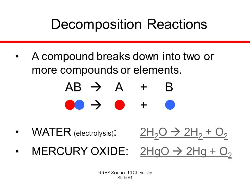 RRHS Science 10 Chemistry Slide #4 Decomposition Reactions A compound breaks down into two or more compounds or elements. AB  A+B OO  O+O WATER (ele