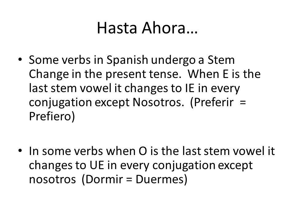 Finally, Some verbs undergo a change from E to I.These verbs tend to be –IR verbs only.
