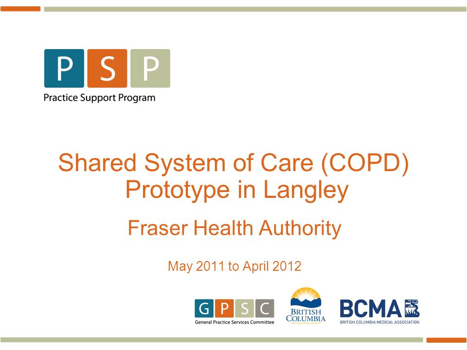 Shared System of Care (COPD) Prototype in Langley Fraser Health Authority May 2011 to April 2012
