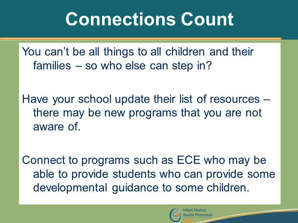 Connections Count You can't be all things to all children and their families – so who else can step in? Have your school update their list of resource
