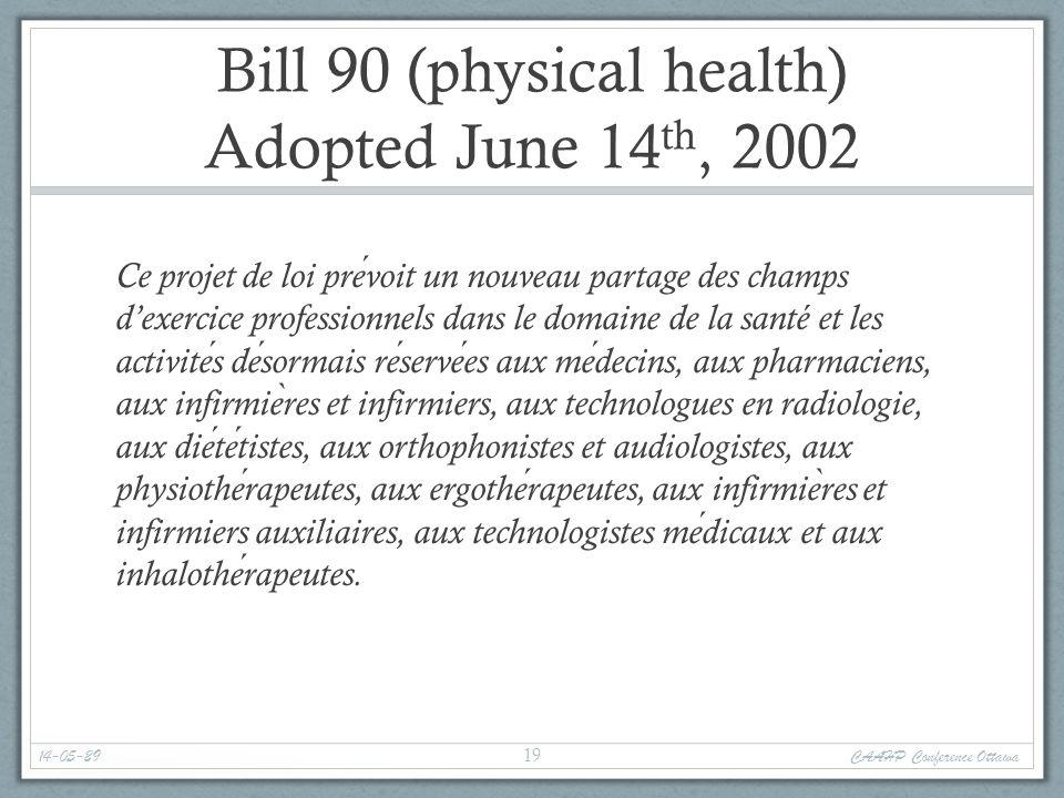 Bill 90 (physical health) Adopted June 14 th, 2002 Ce projet de loi prevoit un nouveau partage des champs d'exercice professionnels dans le domaine de la santé et les activites desormais reservees aux medecins, aux pharmaciens, aux infirmie ̀ res et infirmiers, aux technologues en radiologie, aux dietetistes, aux orthophonistes et audiologistes, aux physiotherapeutes, aux ergotherapeutes, aux infirmie ̀ res et infirmiers auxiliaires, aux technologistes medicaux et aux inhalotherapeutes.