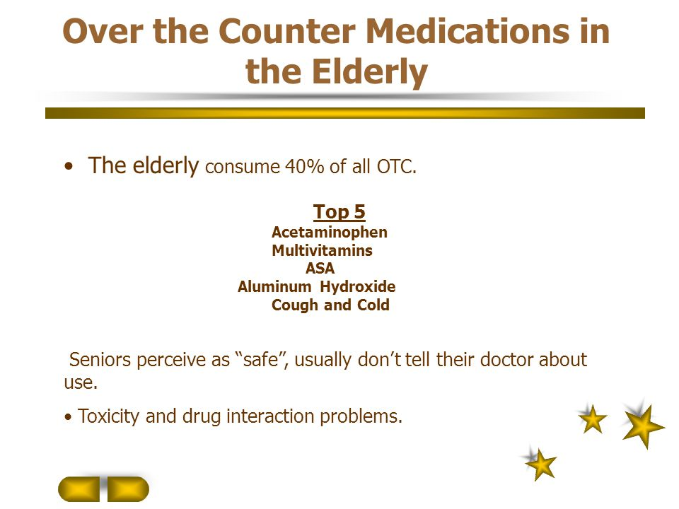 Over the Counter Medications in the Elderly The elderly consume 40% of all OTC. Top 5 Acetaminophen Multivitamins ASA Aluminum Hydroxide Cough and Col