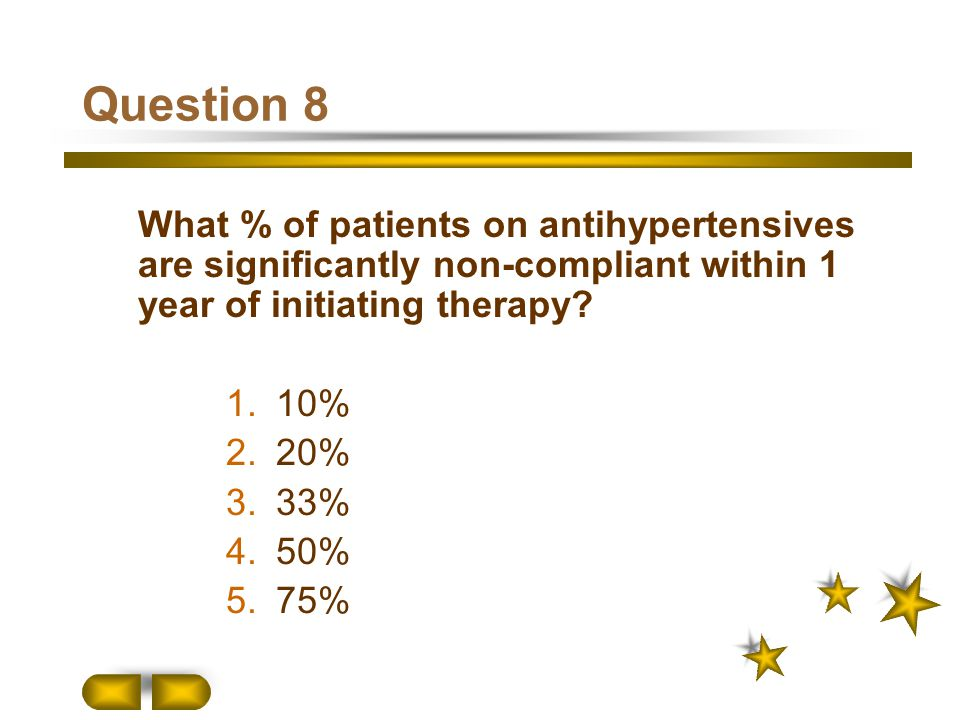 Question 8 What % of patients on antihypertensives are significantly non-compliant within 1 year of initiating therapy? 1. 10% 2. 20% 3. 33% 4. 50% 5.