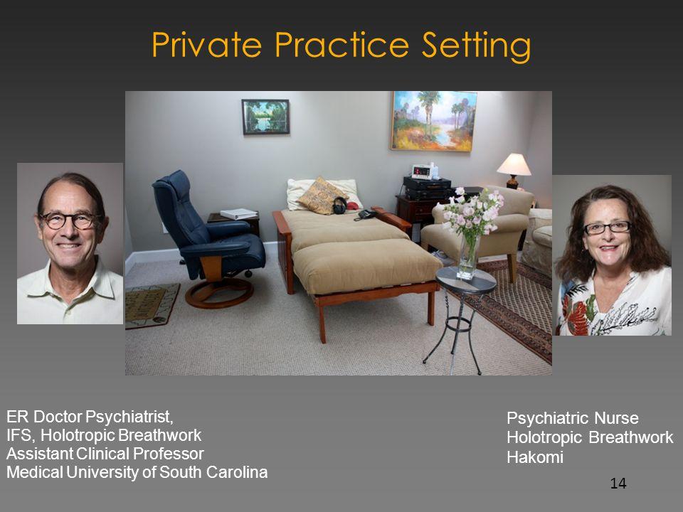 Private Practice Setting ER Doctor Psychiatrist, IFS, Holotropic Breathwork Assistant Clinical Professor Medical University of South Carolina Psychiat