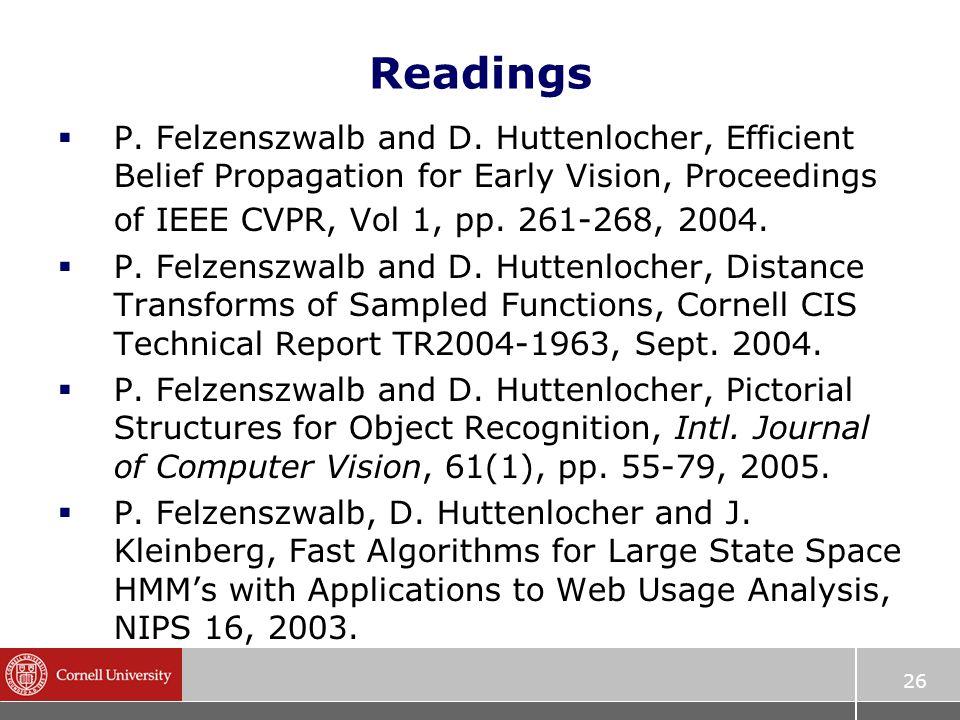 26 Readings  P. Felzenszwalb and D.