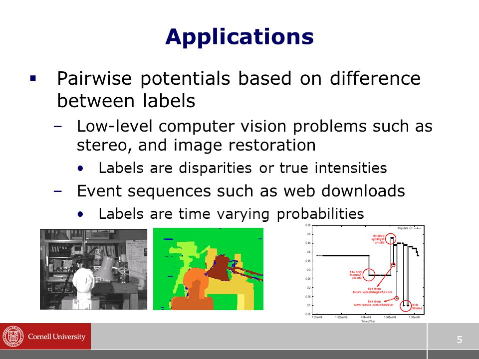5 Applications  Pairwise potentials based on difference between labels –Low-level computer vision problems such as stereo, and image restoration Labels are disparities or true intensities –Event sequences such as web downloads Labels are time varying probabilities