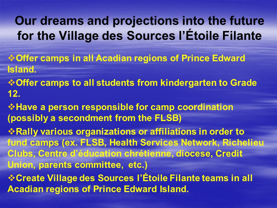 Our dreams and projections into the future for the Village des Sources l'Étoile Filante   Offer camps in all Acadian regions of Prince Edward Island.