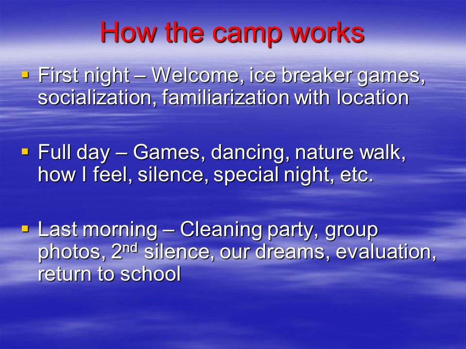 How the camp works  First night – Welcome, ice breaker games, socialization, familiarization with location  Full day – Games, dancing, nature walk, how I feel, silence, special night, etc.