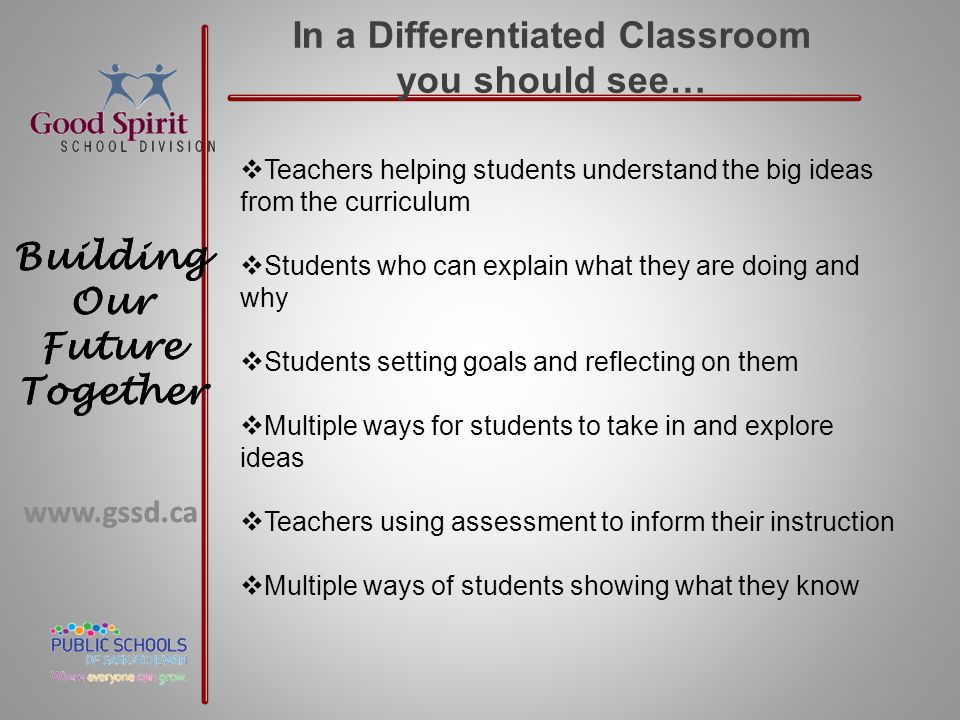 www.gssd.ca Building Our Future Together www.gssd.ca Building Our Future Together In a Differentiated Classroom you should see…  Teachers helping stu
