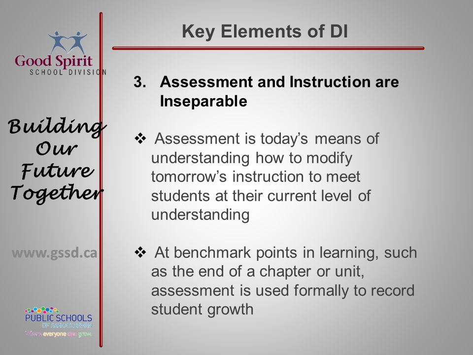 www.gssd.ca Building Our Future Together www.gssd.ca Building Our Future Together Key Elements of DI 3.Assessment and Instruction are Inseparable  Assessment is today's means of understanding how to modify tomorrow's instruction to meet students at their current level of understanding  At benchmark points in learning, such as the end of a chapter or unit, assessment is used formally to record student growth