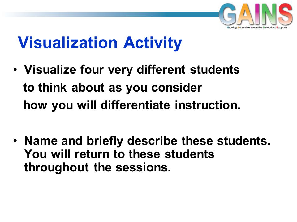 Visualization Activity Visualize four very different students to think about as you consider how you will differentiate instruction.