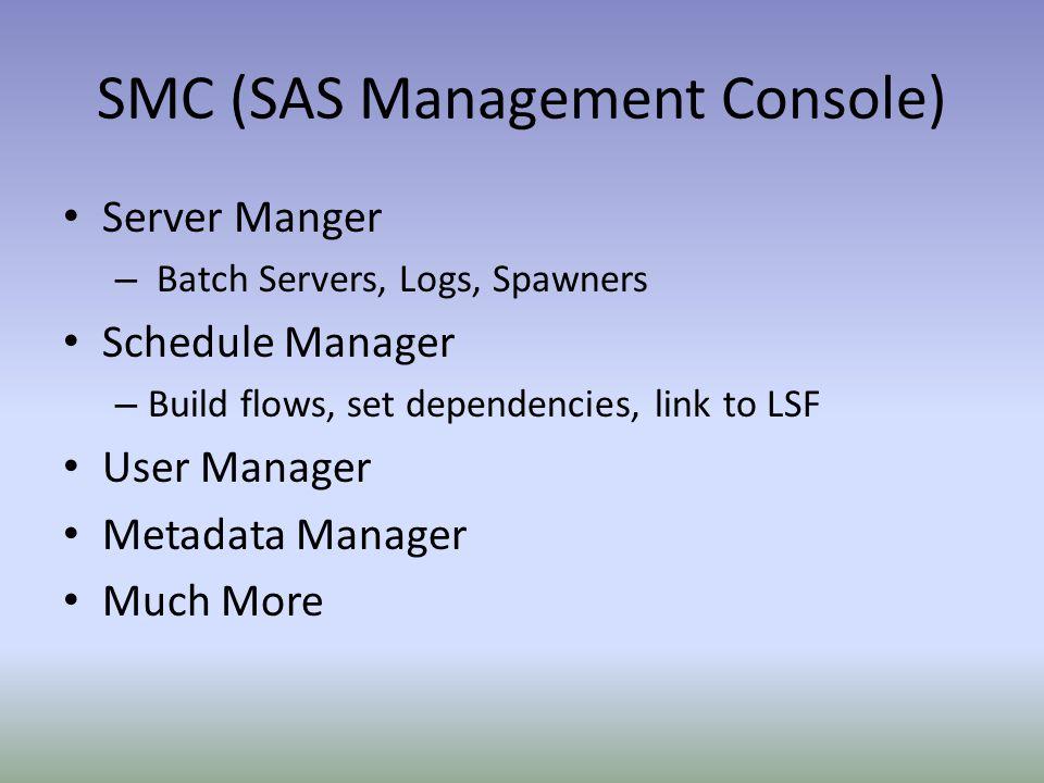 SMC (SAS Management Console) Server Manger – Batch Servers, Logs, Spawners Schedule Manager – Build flows, set dependencies, link to LSF User Manager