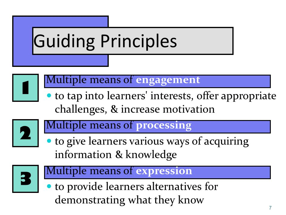 1 2 3 Guiding Principles Multiple means of engagement to tap into learners interests, offer appropriate challenges, & increase motivation Multiple means of processing to give learners various ways of acquiring information & knowledge Multiple means of expression to provide learners alternatives for demonstrating what they know 7