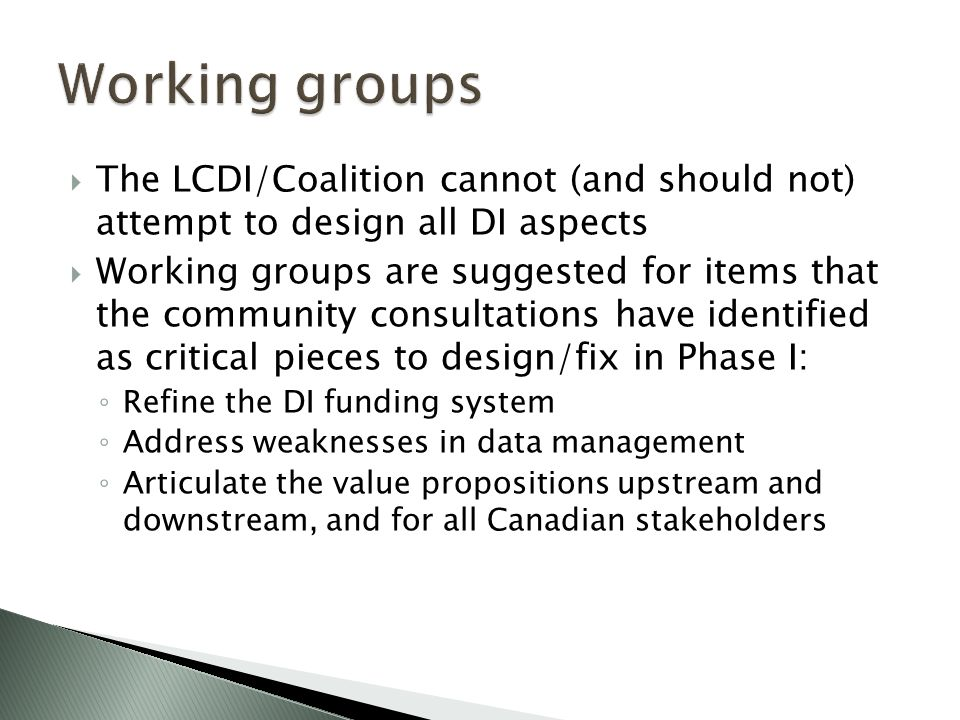  The LCDI/Coalition cannot (and should not) attempt to design all DI aspects  Working groups are suggested for items that the community consultations have identified as critical pieces to design/fix in Phase I: ◦ Refine the DI funding system ◦ Address weaknesses in data management ◦ Articulate the value propositions upstream and downstream, and for all Canadian stakeholders