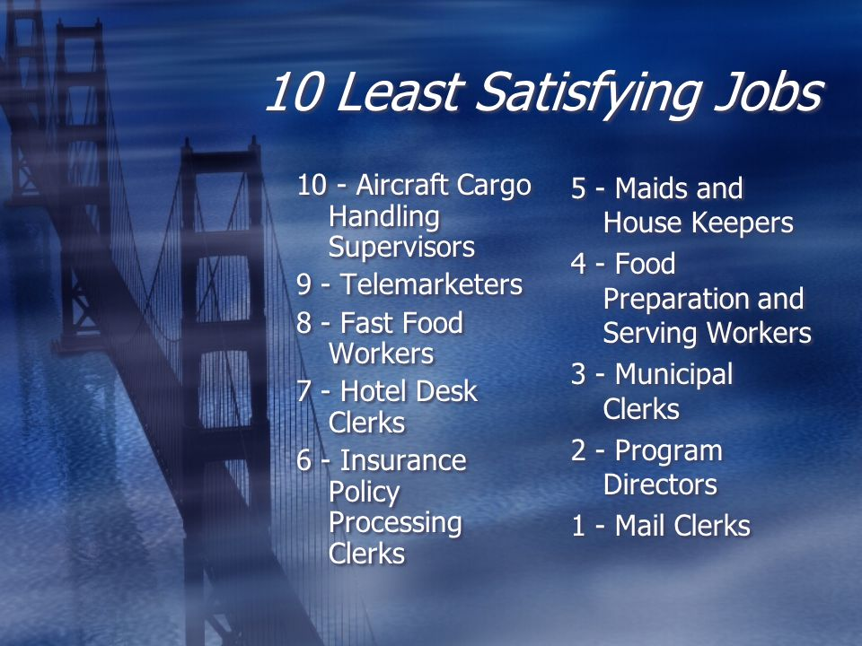 10 Least Satisfying Jobs 10 - Aircraft Cargo Handling Supervisors 9 - Telemarketers 8 - Fast Food Workers 7 - Hotel Desk Clerks 6 - Insurance Policy P