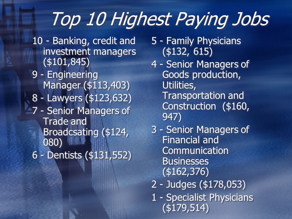 Top 10 Highest Paying Jobs 10 - Banking, credit and investment managers ($101,845) 9 - Engineering Manager ($113,403) 8 - Lawyers ($123,632) 7 - Senio