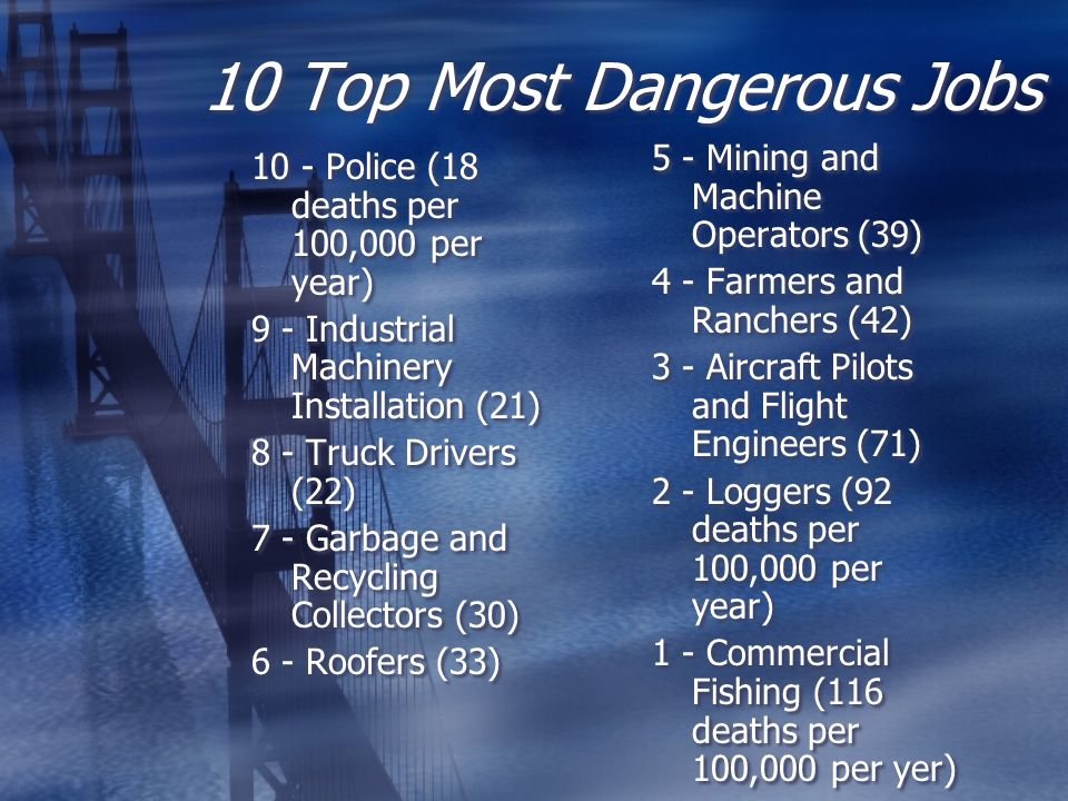 10 Top Most Dangerous Jobs 10 - Police (18 deaths per 100,000 per year) 9 - Industrial Machinery Installation (21) 8 - Truck Drivers (22) 7 - Garbage