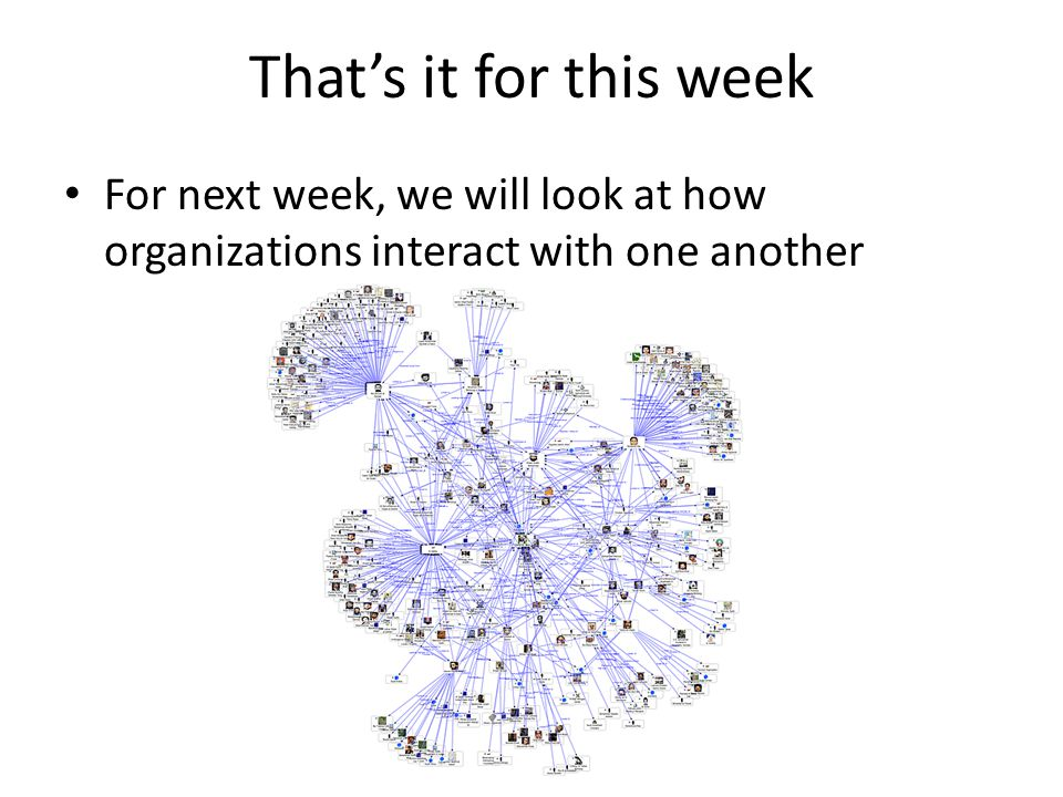 That's it for this week For next week, we will look at how organizations interact with one another