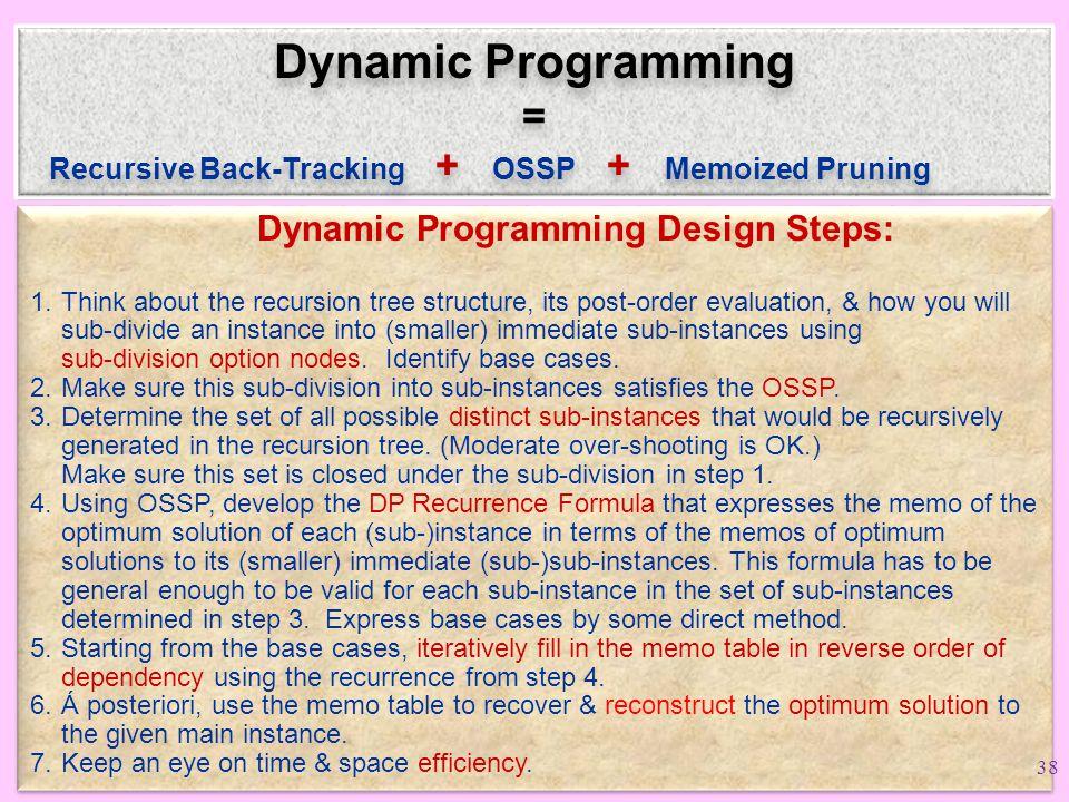 Dynamic Programming = Recursive Back-Tracking + OSSP + Memoized Pruning Recursive Back-Tracking + OSSP + Memoized Pruning.
