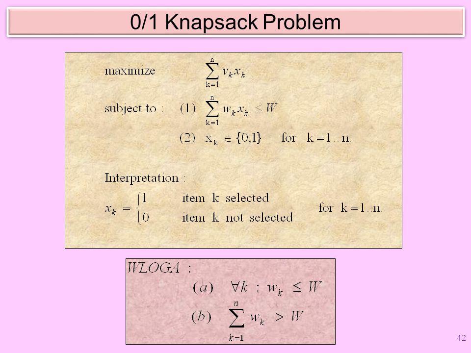 0/1 Knapsack Problem 42