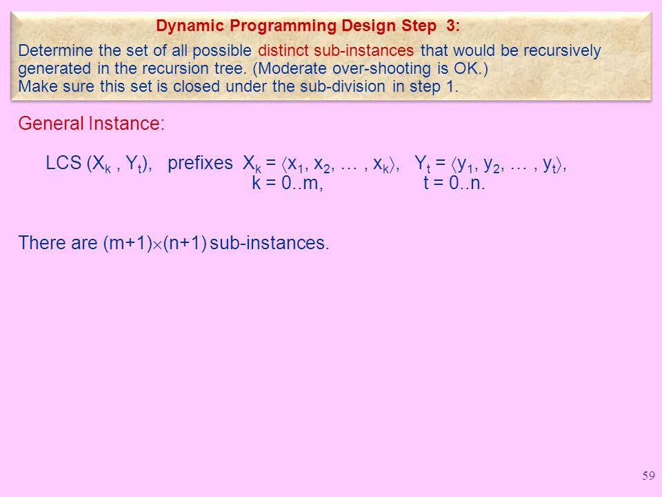 General Instance: LCS (X k, Y t ), prefixes X k =  x 1, x 2, …, x k , Y t =  y 1, y 2, …, y t , k = 0..m, t = 0..n.