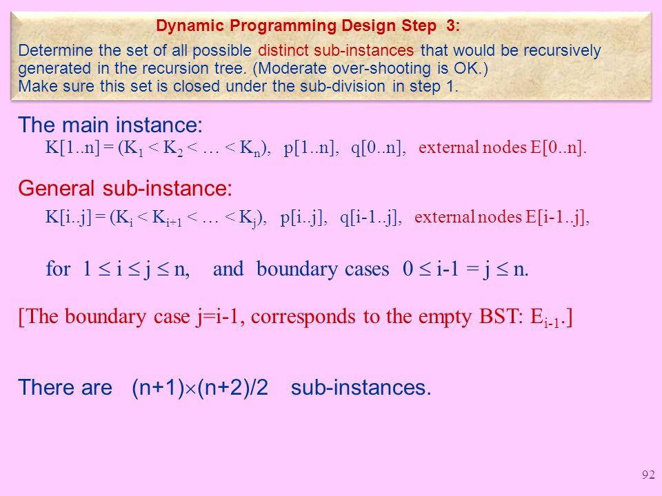 The main instance: K[1..n] = (K 1 < K 2 < … < K n ), p[1..n], q[0..n], external nodes E[0..n].