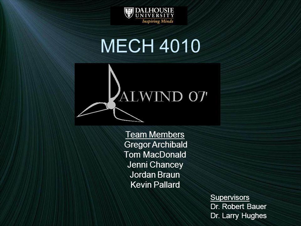 MECH 4010 Team Members Gregor Archibald Tom MacDonald Jenni Chancey Jordan Braun Kevin Pallard Supervisors Dr.
