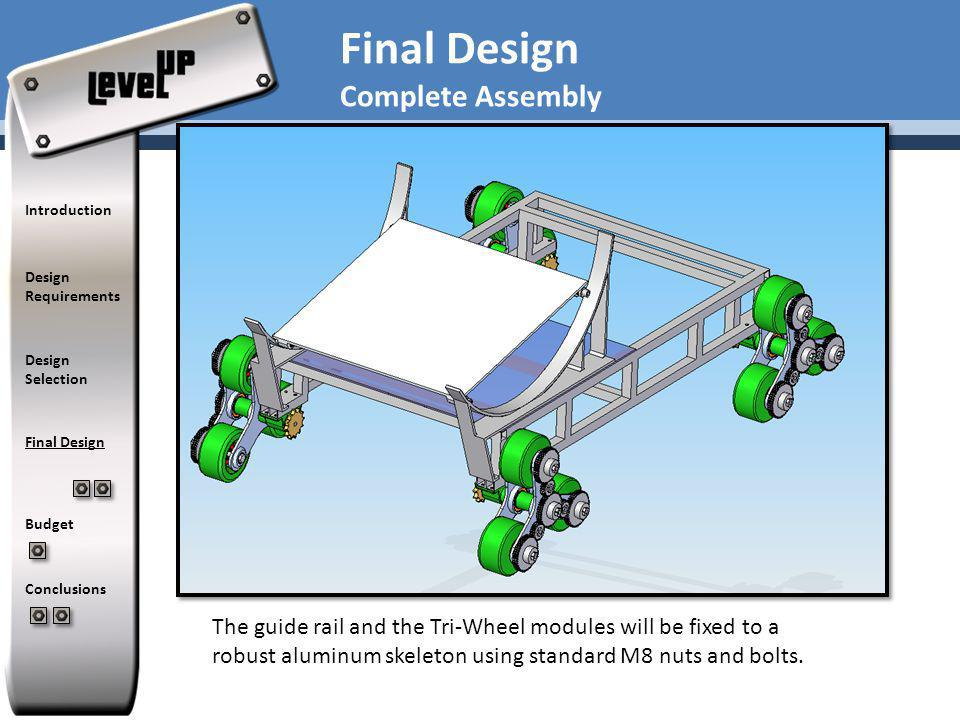 The guide rail and the Tri-Wheel modules will be fixed to a robust aluminum skeleton using standard M8 nuts and bolts.