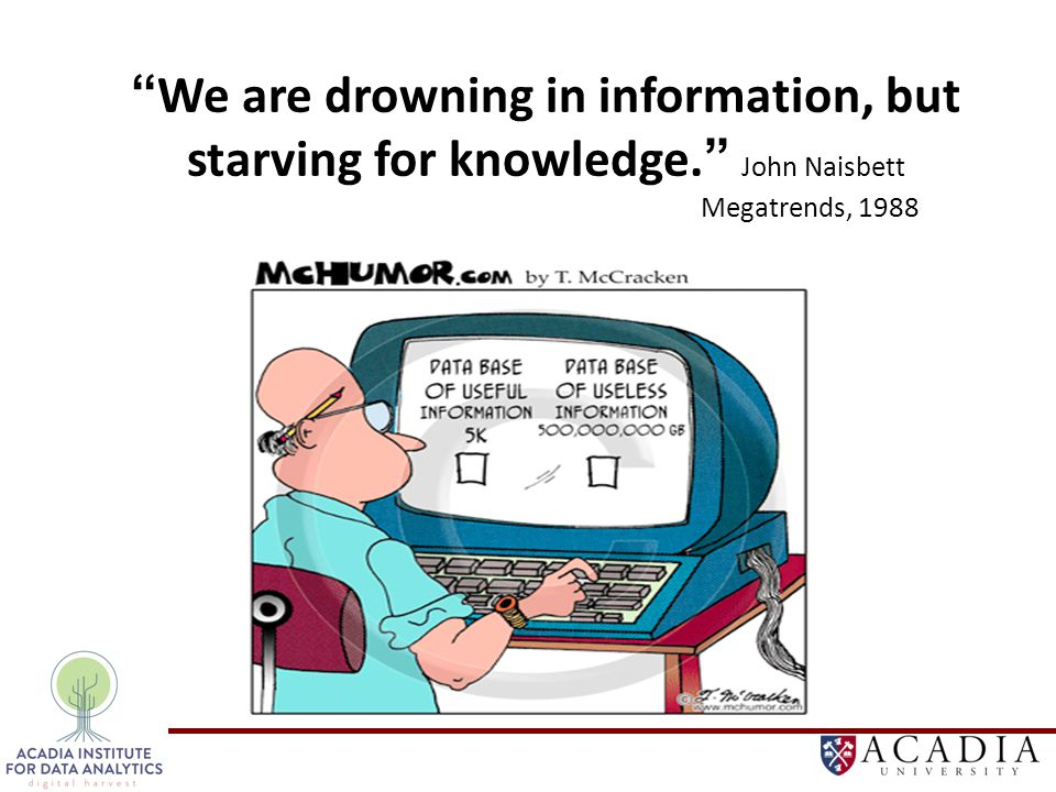 Not a new field: Since 1990s: Data Analysis, Knowledge Discovery, Data Mining, Data Warehousing A multidisciplinary field: Database Visualization On-line Analytical Processing (OLAP) Math and Statistics Machine Learning We are drowning in information, but starving for knowledge.