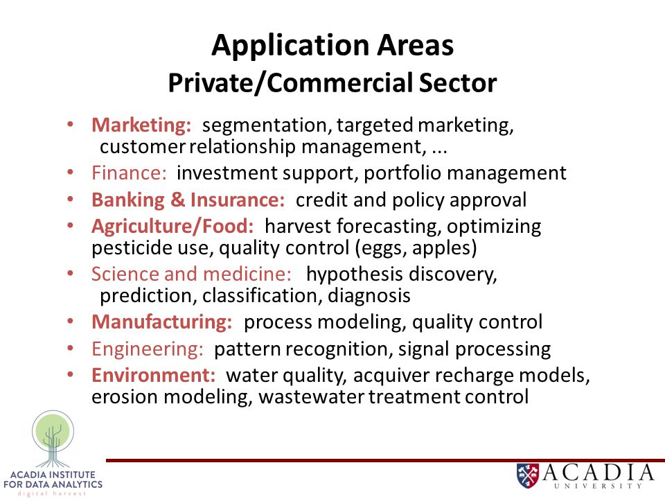 Application Areas Private/Commercial Sector Marketing: segmentation, targeted marketing, customer relationship management,...