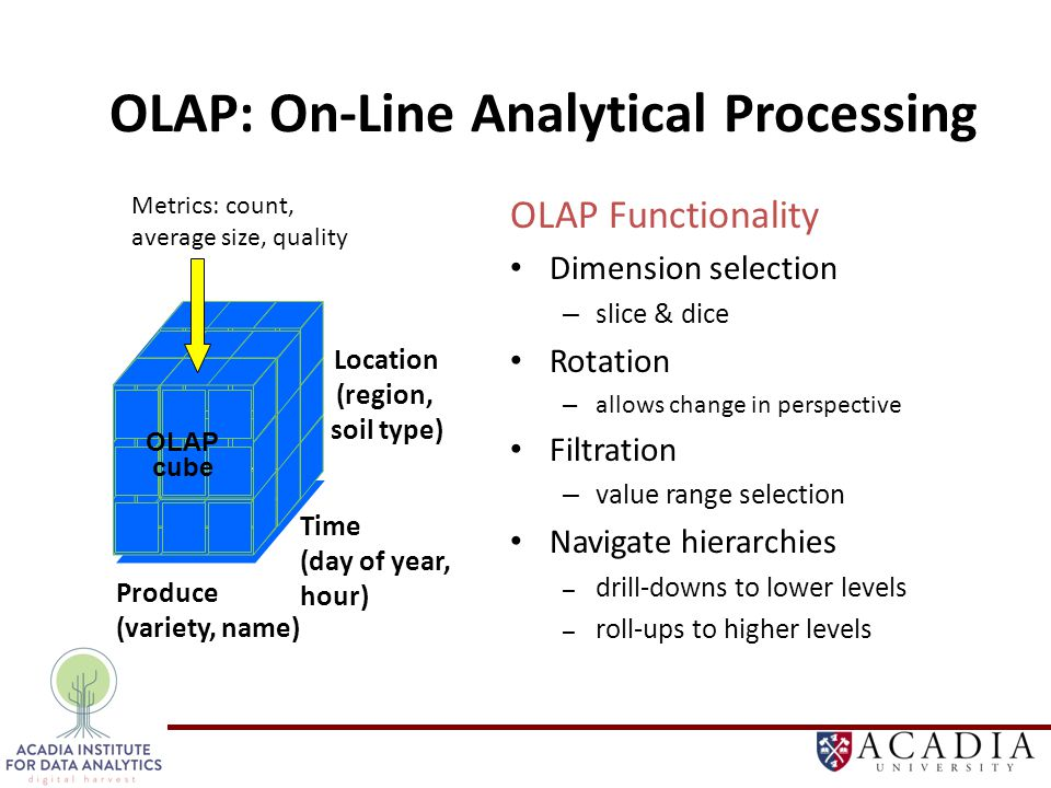 OLAP: On-Line Analytical Processing OLAP Functionality Dimension selection – slice & dice Rotation – allows change in perspective Filtration – value range selection Navigate hierarchies – drill-downs to lower levels – roll-ups to higher levels OLAP cube Time (day of year, hour) Produce (variety, name) Location (region, soil type) Metrics: count, average size, quality