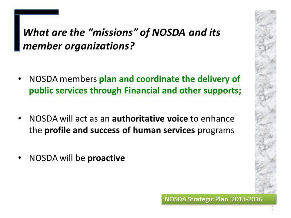 What are the missions of NOSDA and its member organizations.