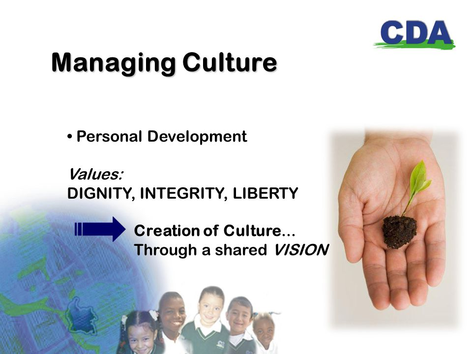 Managing Culture Personal Development Values: DIGNITY, INTEGRITY, LIBERTY Creation of Culture...