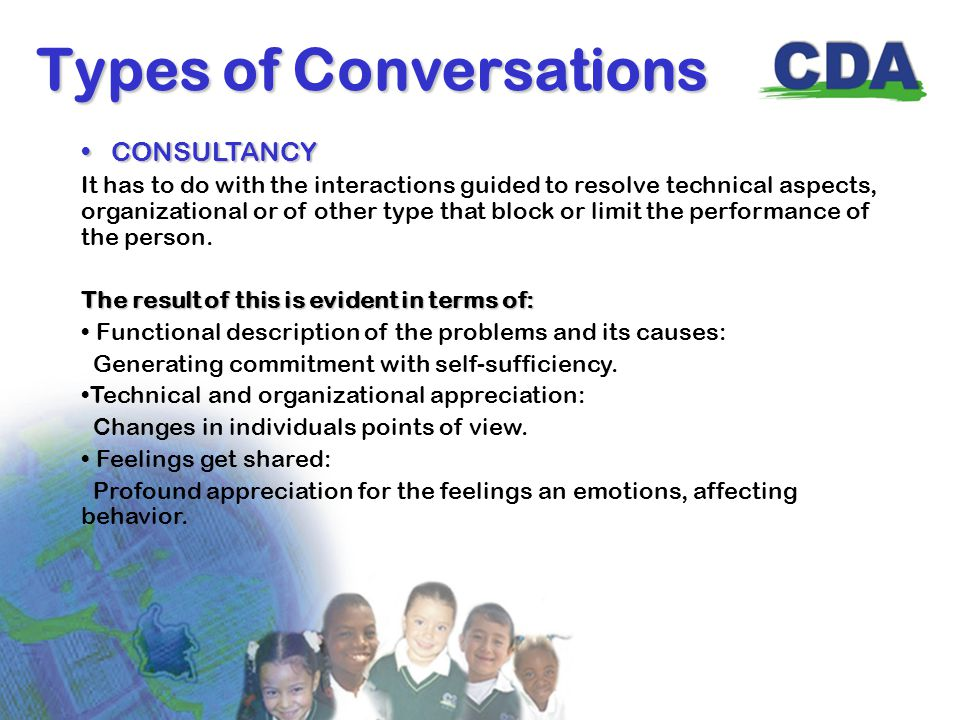 Types of Conversations CONSULTANCY CONSULTANCY It has to do with the interactions guided to resolve technical aspects, organizational or of other type that block or limit the performance of the person.