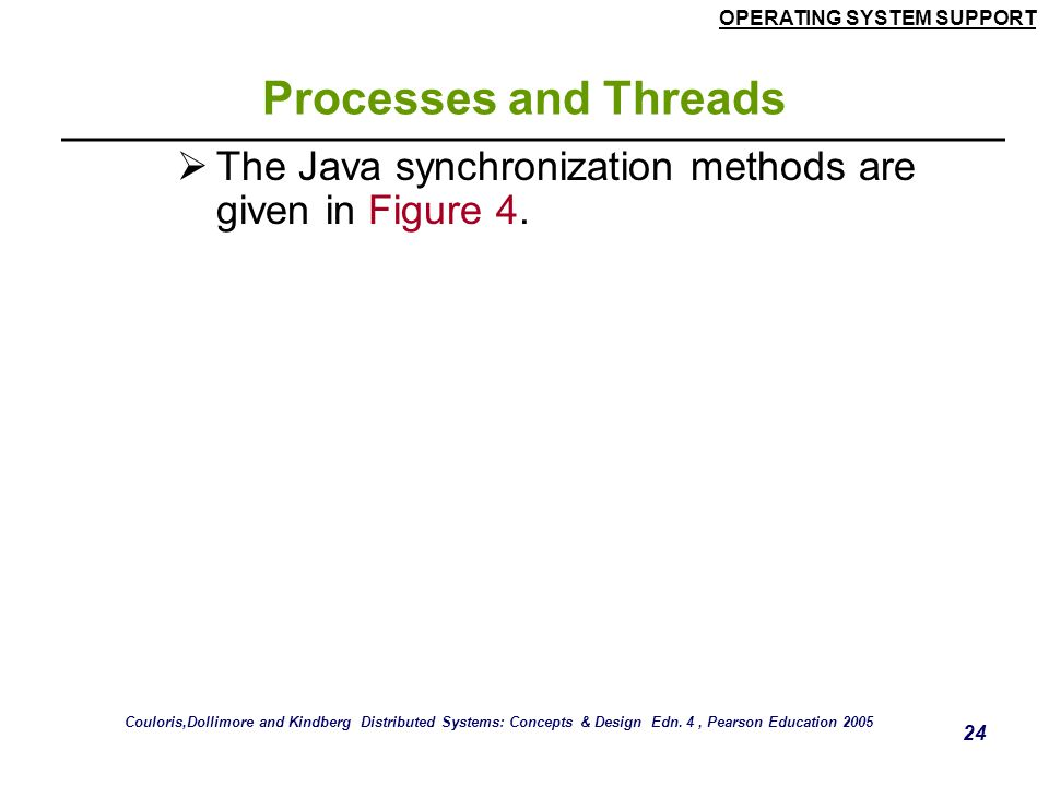 OPERATING SYSTEM SUPPORT 24 Processes and Threads  The Java synchronization methods are given in Figure 4. Couloris,Dollimore and Kindberg Distribute