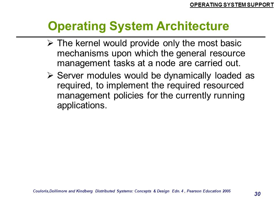 OPERATING SYSTEM SUPPORT 30 Operating System Architecture  The kernel would provide only the most basic mechanisms upon which the general resource ma