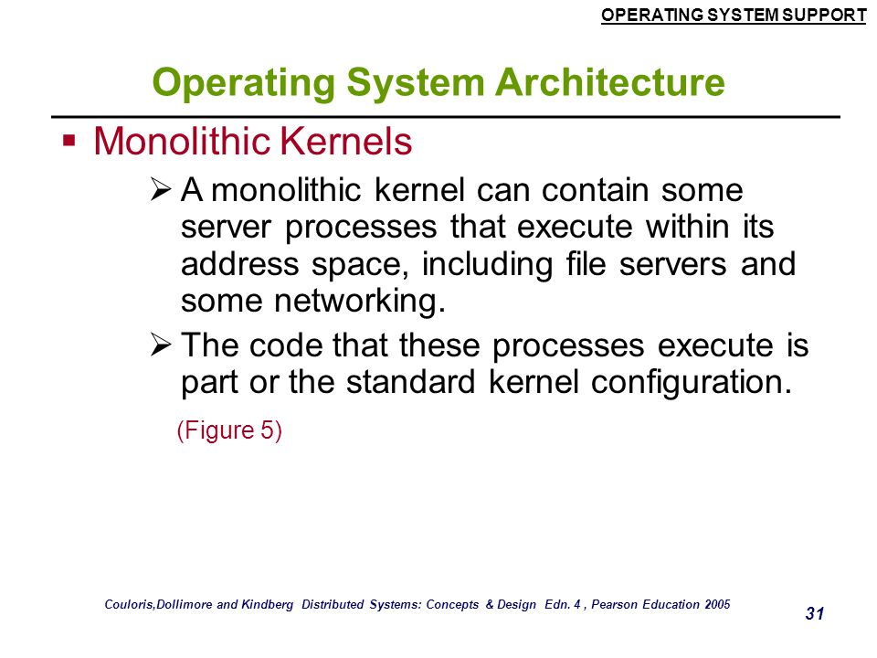 OPERATING SYSTEM SUPPORT 31 Operating System Architecture  Monolithic Kernels  A monolithic kernel can contain some server processes that execute wi
