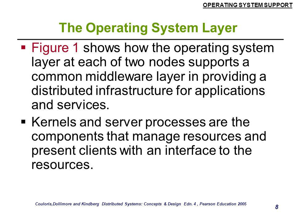 OPERATING SYSTEM SUPPORT 8 The Operating System Layer  Figure 1 shows how the operating system layer at each of two nodes supports a common middlewar